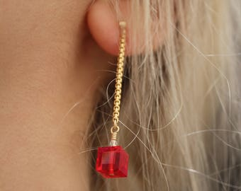 Cherry Bomb Earring | Gold Fill With Swarovski Beads