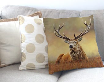 Stag Cushion, Stag Pillow, Stag gift, Deer Pillow, Deer Cushion (King of the Forest)