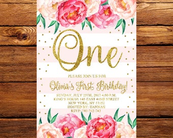 Pink Gold Floral First Birthday Invitation, Girls Floral Birthday Invitation,Flower First Birthday Invitation,Gold First Birthday Invite 223