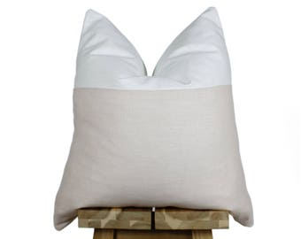 Linen Pillow Cover | Blush & Off White | 'Indi'