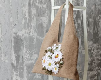 Eco bag_handmade ribbons embroidery_handbag_tote_white camomiles_Fisenko