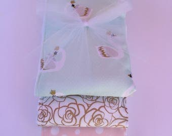 Swans and Rose Gold Burp Cloth Trio