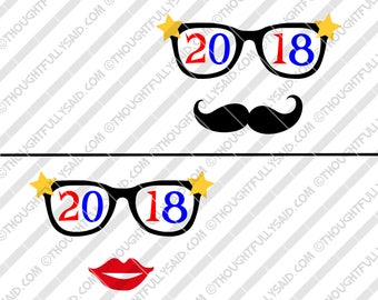 2018 New Years party glasses SVG design files, dxf, png, eps, die cut, 2 designs - moustache and glasses, New Years svg, party svg, 2018 svg