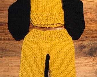 Hand Knitted Pluto Newborn Photo Prop Outfit. Made to Order