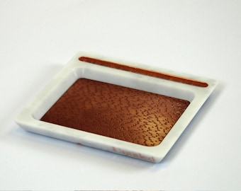 Phone stand and valet tray in carrara white with polished copper snakeskin (iPhone, S8, Pixel, Experia, Huwai etc.)