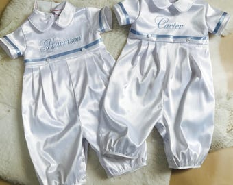 MARK boy's Baptism romper, boy baptism outfit, boy Christening suit, baby boy Baptism suit, Christening romper, Christening jumpsuit,