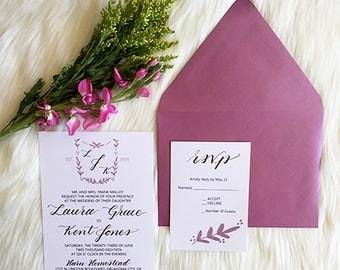 Wedding Invitation Hand-painted Crest, Invite and RSVP, Calligraphy, Custom