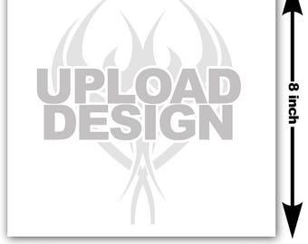 8x8 inch Image or logo as custom temporary tattoo - upload design or photo & we create customized temp fake tattoos - Personalized