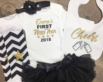 First new years outfit baby girl first new year outfit cheers personal baby girl new years outfit baby girl personalized New years eve set