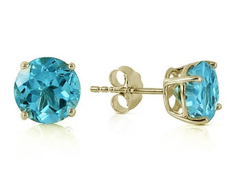 Blue topaz earrings yellow gold