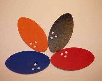 4 FAUX LEATHER OVAL RINGS WITH 3 STARS 4 COLORS