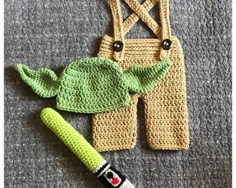 Yoda Baby Costume, Yoda Baby Outfit, Newborn Halloween, Baby Costume, Star Wars, Lightsaber, Halloween Costume, Yoda, Star Wars Baby Costume