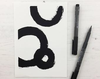 Faith, Circles, abstract art, geometric art, minimalist art, home decor, black and white, paint strokes print, 1 Corinthians 13
