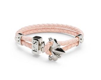 Fleur de Lis Bracelet Silver with Rose Leather SIZE S 17 cm (free shipping)