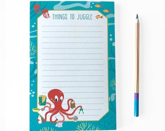 Octopus Notepad - Notes - To Do list pad - Office notepad - Cute notepad - Cute stationery - Daily Planner - Funny Notepad -Things to Juggle