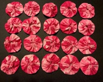 """20 Fabric Yoyos Pink Camouflage 2"""""""