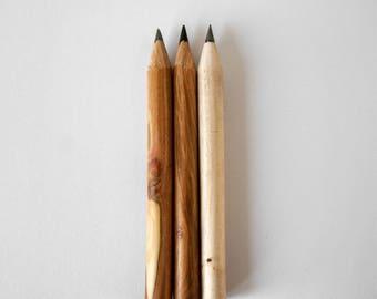Handmade wooden pencil set birch and plum drawing pencils