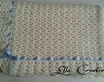 Crochet cotton bassinet cover girl-child