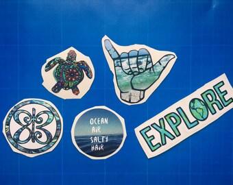 Summer Ocean vinyl sticker pack boho dweller travel turtle