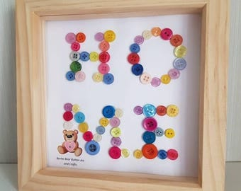 New Home gift, housewarming present, home button art, modern home letter button art frame