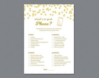 What's in Your Phone Game, Gold Baby Shower Games Printable, Bridal Shower What's on Your Phone, Wedding Shower, Instant Download, A002