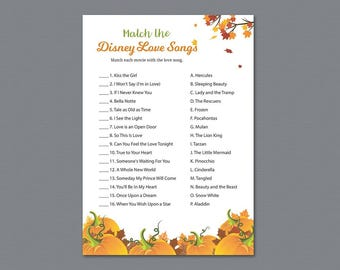 Fall Match the Disney Love Songs Game, Autumn Bridal Shower Games Printable, Fall Leaves, Leaf, Winter Pumpkin, Love Songs Match Game, A022