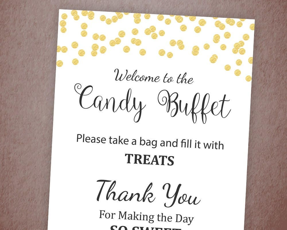 Candy Buffet Sign Printable Candy Bar Sign Gold Confetti
