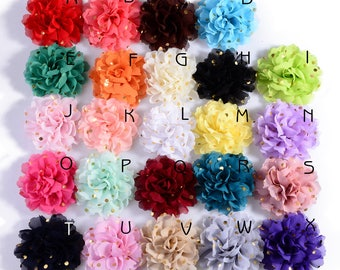 10cm 24colors Big Chiffon Headband Flower For Hair Clips Hairpins Fabric Flowers with Gold Dot for Baby Girls Hair Accessories