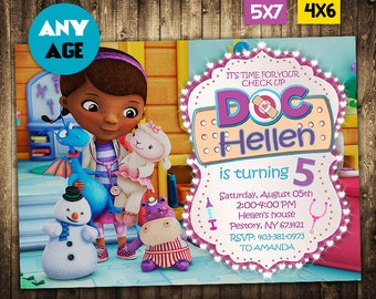 Doc McStuffins Invitation, Doc McStuffins, Doc McStuffins Party, Doc McStuffins Invite, Doc McStuffins Birthday Party, Doc McStuffins Card