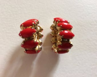 Vintage Red Milk Glass Articulated Clip On Earrings