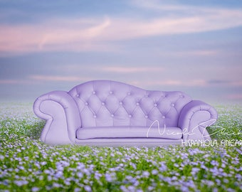 Sofa in purple Flower Field, Couch, settee, Photo, digital Backdrop, download, Photography, Manipulation, Photoshop, Composing