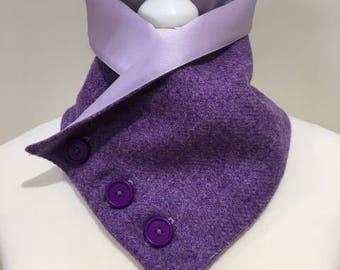 Genuine, Purple, Harris Tweed, Neck Warmer, Tweed Scarf, Snood, Neck Wrap, Satin, Short Scarf,