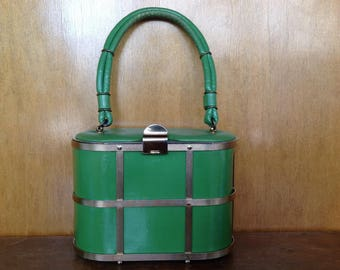 RESERVED*** Vintage Ladies Green and Gold Cage Summer Handbag