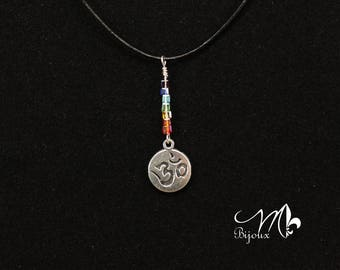 """""""OM"""" genuine leather necklace"""