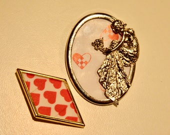 Set of 2 Valentine Brooch, Pin, Pendant Gold with Hearts and Silver Victorian Lady in Dress for Women and Teens Vintage