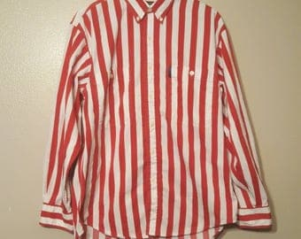 Vintage Red Striped Chaps Ralph Lauren Longleeve Button Up