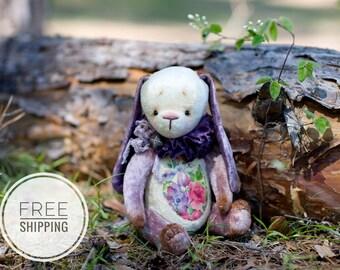 Artist teddy bunny rabbit.Collectible bunny.Purple bunny rabbit.Lilac bunny rabbit.Gift for woman.Bunny with flowers.Plush bunny rabbit.OOAK
