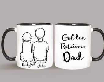 Personalized Golden Retriever Mug, Golden Retriever Mug, Golden Retriever Gift, Golden Retriever Dad Gift