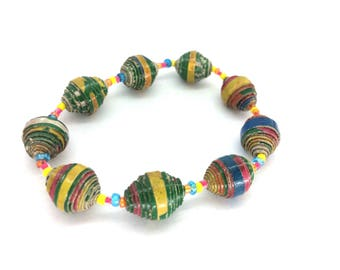 Rainbow bracelet, rainbow beads, bright colours jewelry, happy bracelet, quirky bracelet, paper bead jewelry, unique jewellery,  handmade