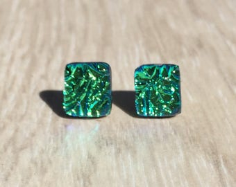 Dichroic Fused Glass Stud Earrings - Green Crinkle Dichroic with Sterling Silver Posts