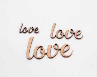 Love Lettering  - 3 Wooden pieces to decorate or make any type of crafts.