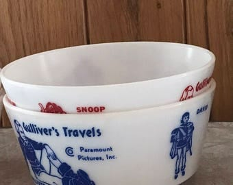 Gulliver's Travels promotional bowl by Hazel Atlas for Paramount Pictures