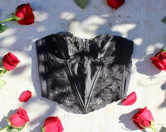 vtg 90s christian Dior black lace bustier top