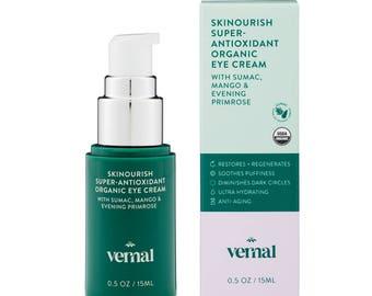 Vernal SKINourish – Super Antioxidants Organic Eye Cream for Puffiness, Wrinkles & Dark Circles with Organic Primrose, Mango, Cocoa