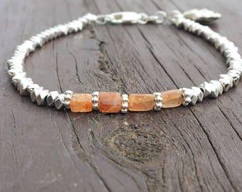Sunstone Bracelet quartz beaded Bracelet Silver bead Bracelet Silver and Orange Stone bracelet Natural Stone Handmade Jewelry Boho Gift