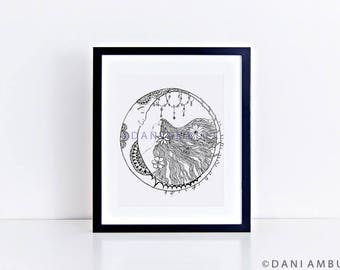 Crescent Moon Print/Moon Illustration/Gift for Her/Moon Decor/Black and White Wall Art/Office Decor Print/Boho Decor/Nature Art/ Dorm room