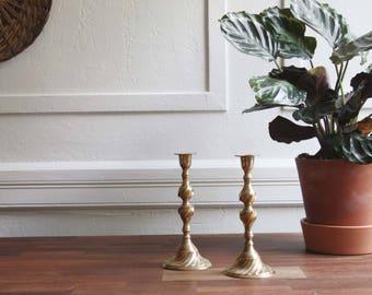 2 Vintage Brass Candlesticks –Vintage Brass Candleholder - Mid Century - Modern Home Decor - Wedding Centerpiece - Retro Classic Style