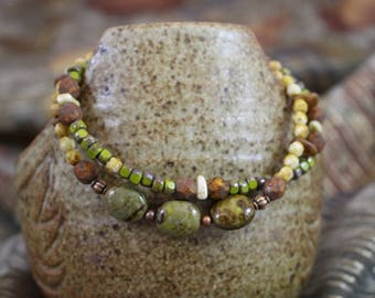 Viking inspired double strand bracelet,Czech glass Wasabi oval, Czech glass green,cream,copper lobster clasp and twisted rings, B156