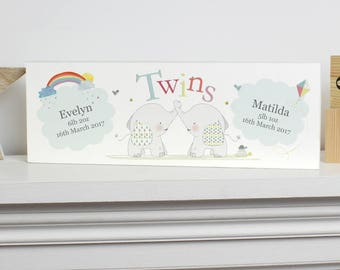 Personalised Mantel Block, Personalised Twins Mantel Block, Twins Mantel Block, Twins Gift, Newborn Twins, New Baby Twins