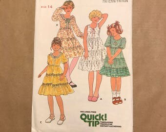 Vintage 1970s Sewing Pattern - Butterick 6090 - Girls Dress